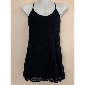 A&F Floral Lace Mini Dress with Criss Cross Back